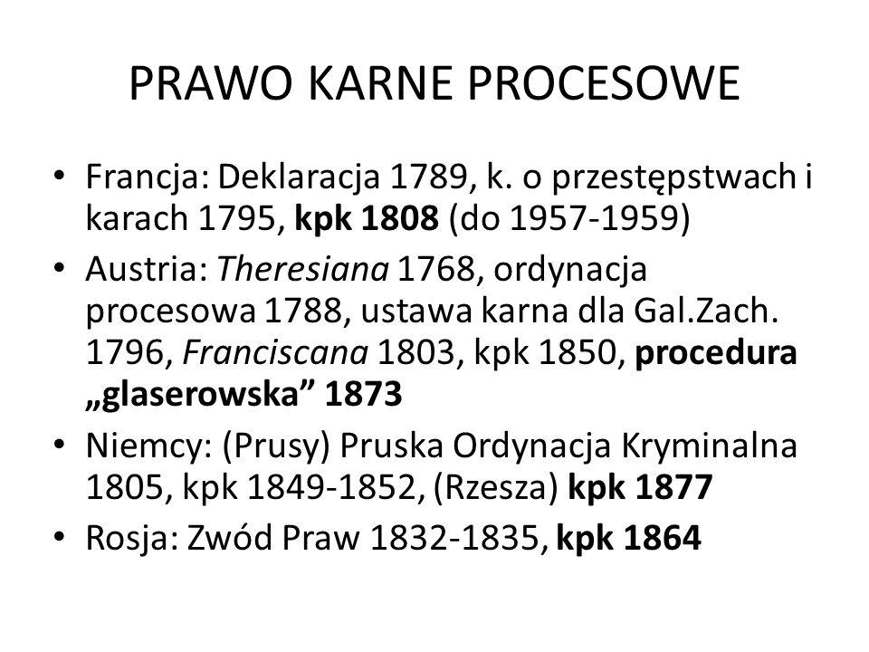 PRAWO KARNE PROCESOWE Francja: Deklaracja 1789, k. o przestępstwach i karach 1795, kpk 1808 (do 1957-1959)