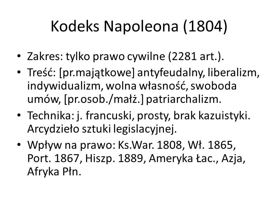Kodeks Napoleona (1804) Zakres: tylko prawo cywilne (2281 art.).