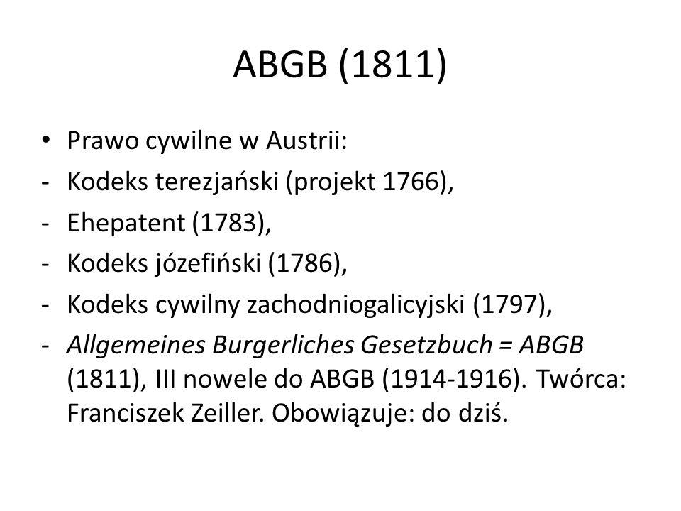 ABGB (1811) Prawo cywilne w Austrii: