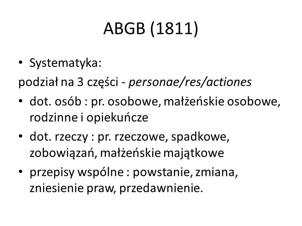 ABGB (1811) Systematyka: podział na 3 części - personae/res/actiones