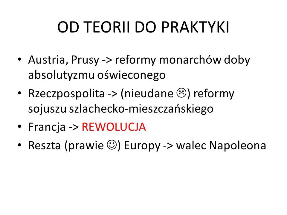 OD TEORII DO PRAKTYKI Austria, Prusy -> reformy monarchów doby absolutyzmu oświeconego.
