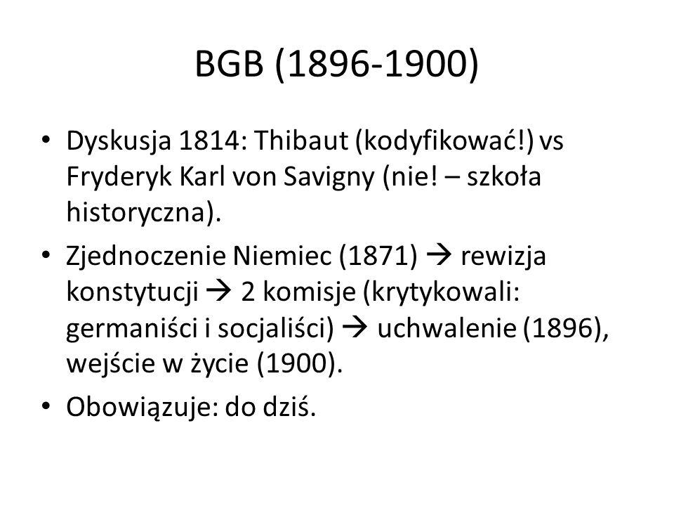 BGB (1896-1900) Dyskusja 1814: Thibaut (kodyfikować!) vs Fryderyk Karl von Savigny (nie! – szkoła historyczna).