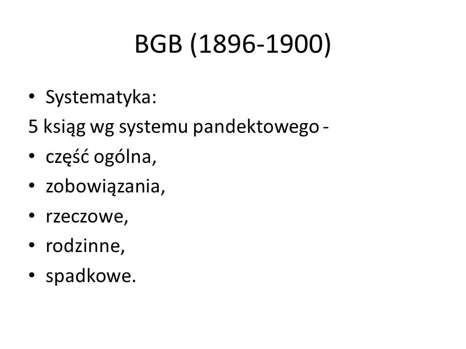 BGB (1896-1900) Systematyka: 5 ksiąg wg systemu pandektowego -