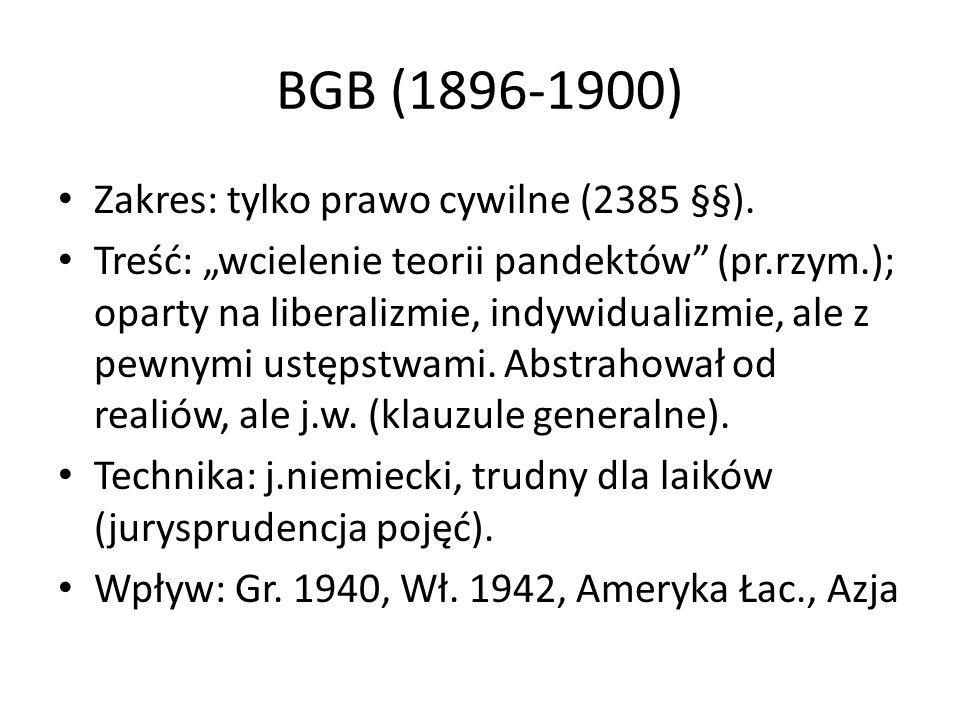 BGB (1896-1900) Zakres: tylko prawo cywilne (2385 §§).