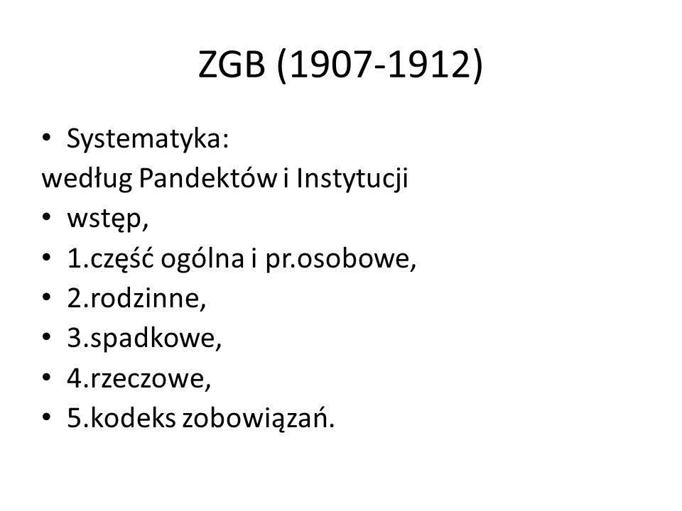 ZGB (1907-1912) Systematyka: według Pandektów i Instytucji wstęp,