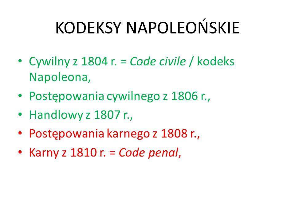 KODEKSY NAPOLEOŃSKIE Cywilny z 1804 r. = Code civile / kodeks Napoleona, Postępowania cywilnego z 1806 r.,