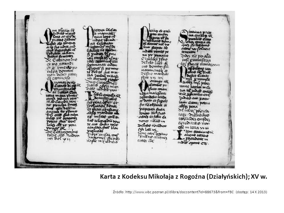 Karta z Kodeksu Mikołaja z Rogoźna (Działyńskich); XV w.