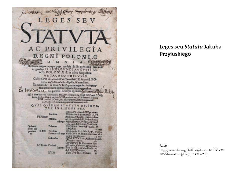 Leges seu Statuta Jakuba Przyłuskiego