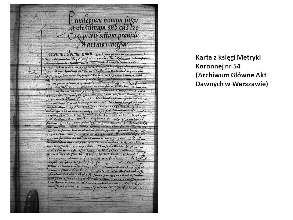 Karta z księgi Metryki Koronnej nr 54 (Archiwum Główne Akt Dawnych w Warszawie)