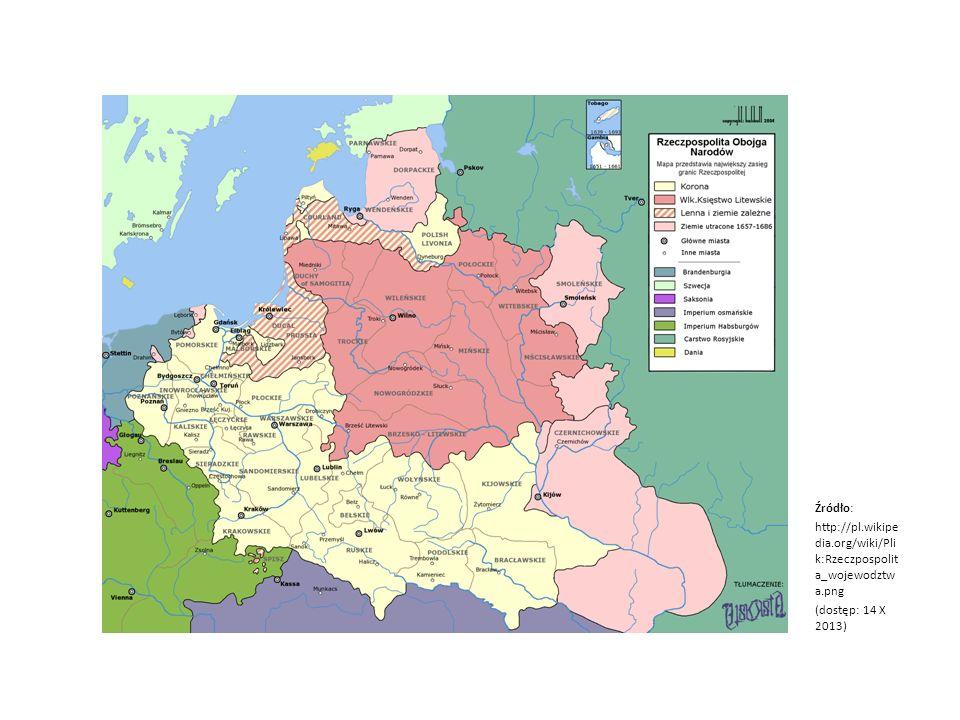 Źródło: http://pl. wikipedia. org/wiki/Plik:Rzeczpospolita_wojewodztwa