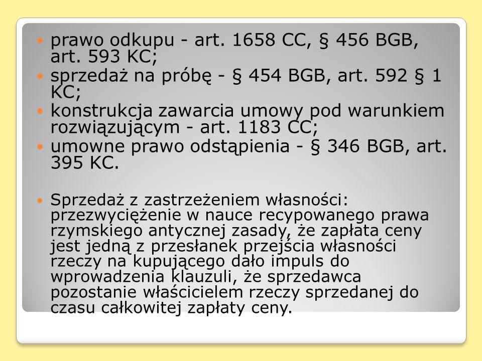 prawo odkupu - art. 1658 CC, § 456 BGB, art. 593 KC;
