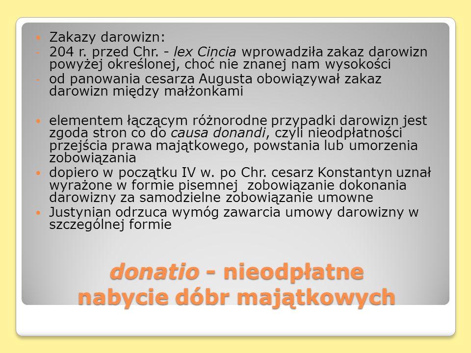 donatio - nieodpłatne nabycie dóbr majątkowych