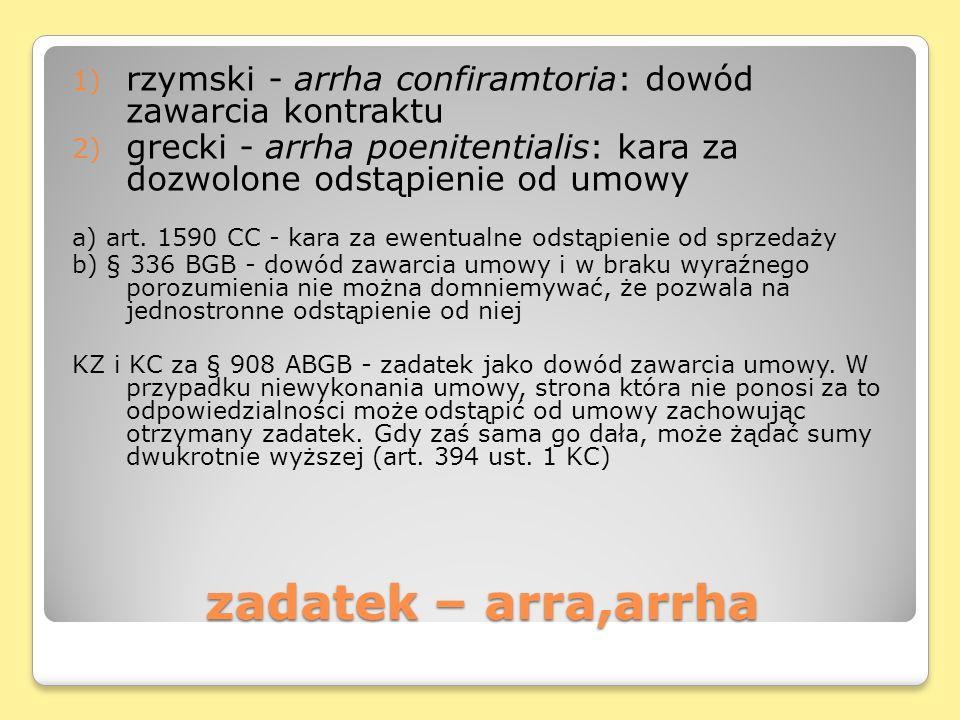 rzymski - arrha confiramtoria: dowód zawarcia kontraktu