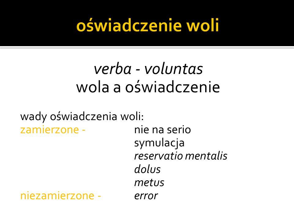 oświadczenie woli verba - voluntas wola a oświadczenie