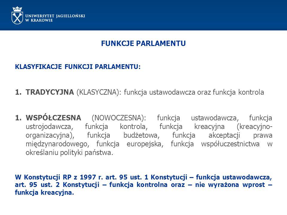TRADYCYJNA (KLASYCZNA): funkcja ustawodawcza oraz funkcja kontrola