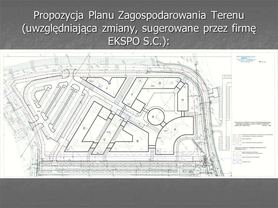 Propozycja Planu Zagospodarowania Terenu (uwzględniająca zmiany, sugerowane przez firmę EKSPO S.C.):