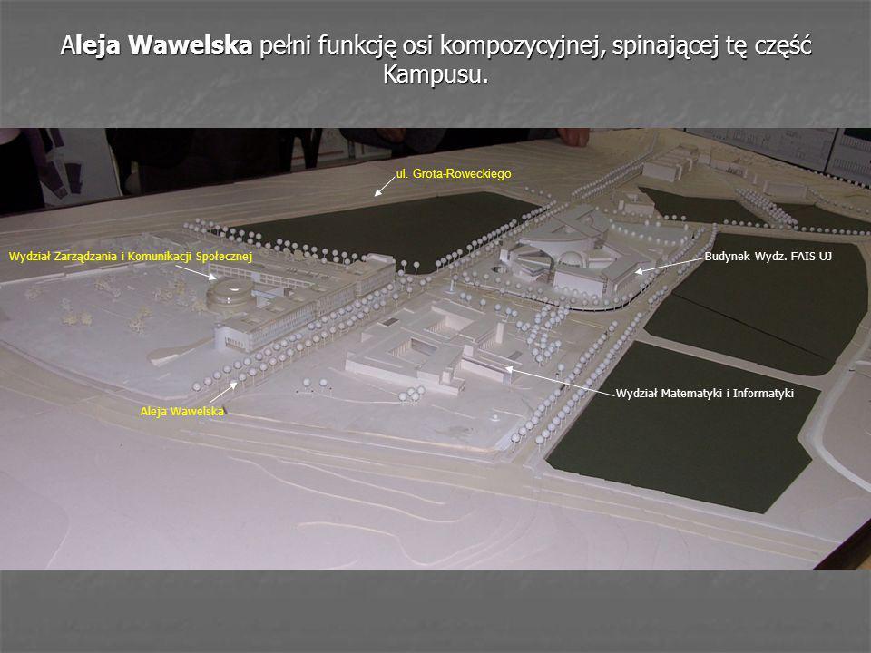Aleja Wawelska pełni funkcję osi kompozycyjnej, spinającej tę część Kampusu.