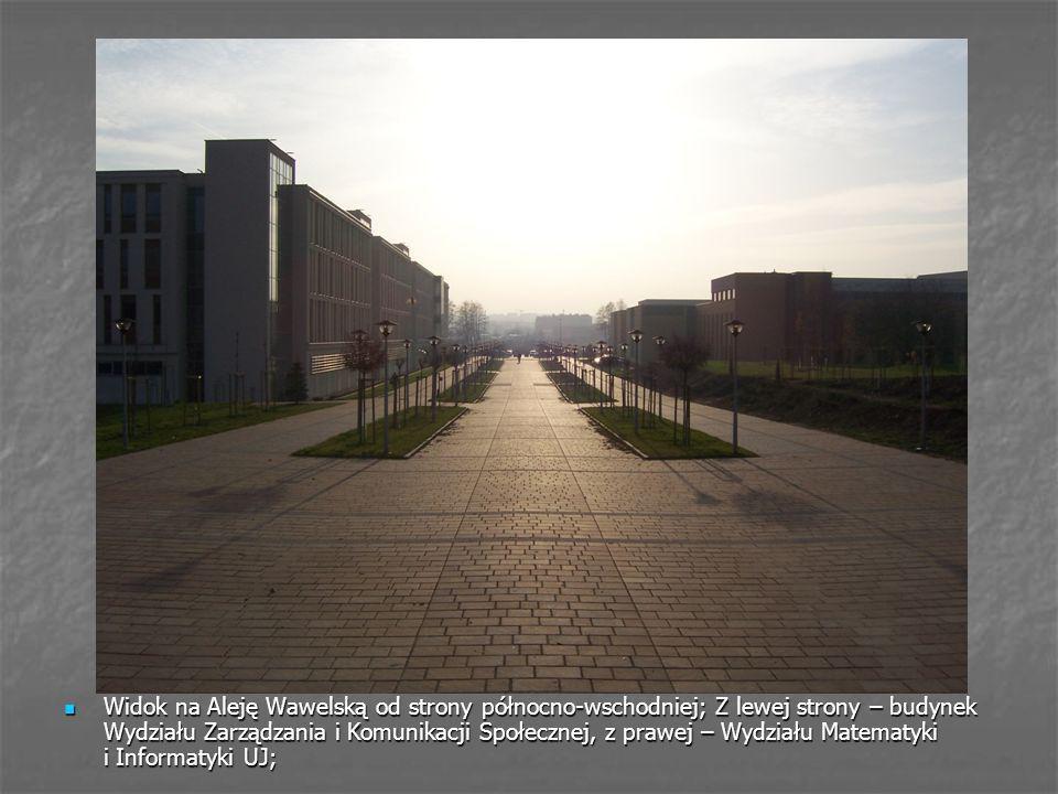 Widok na Aleję Wawelską od strony północno-wschodniej; Z lewej strony – budynek Wydziału Zarządzania i Komunikacji Społecznej, z prawej – Wydziału Matematyki i Informatyki UJ;