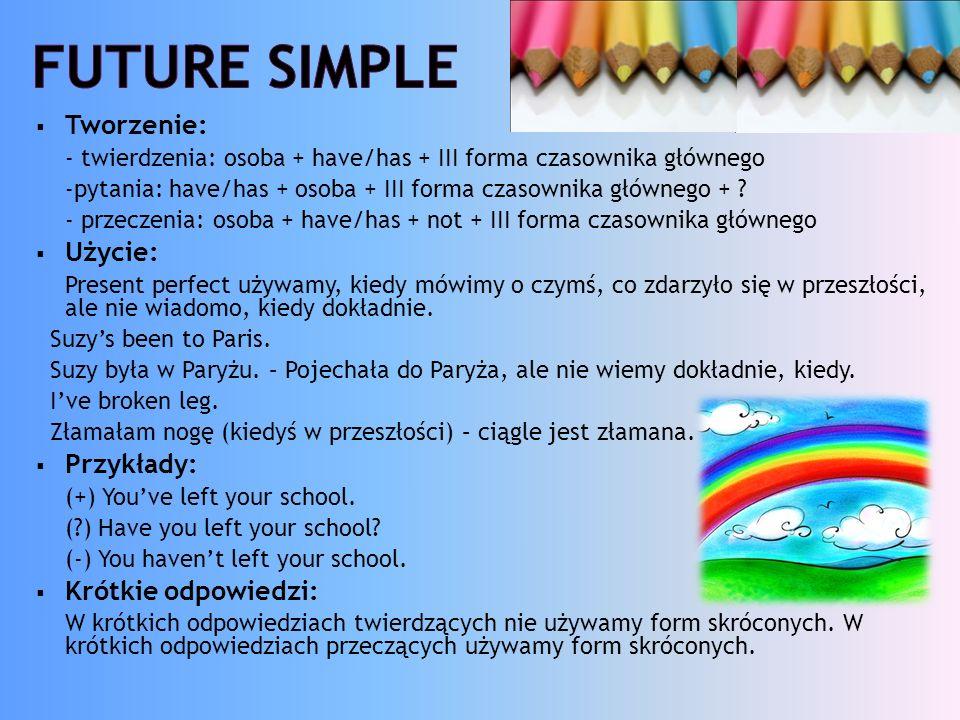 Future simple Tworzenie: Użycie: Przykłady: Krótkie odpowiedzi: