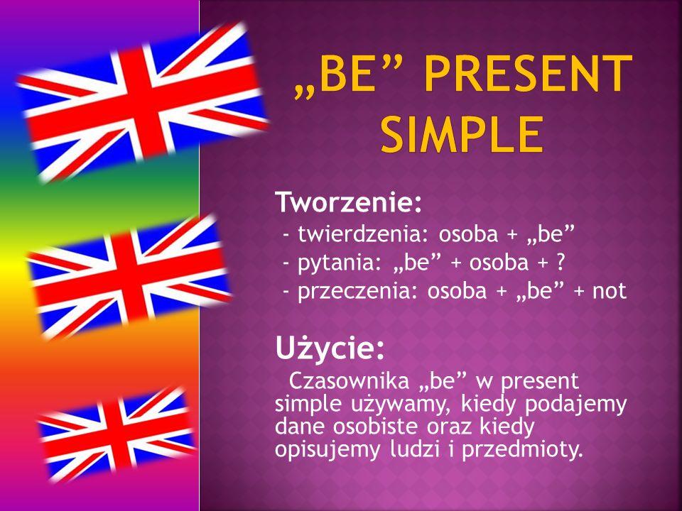 """""""be PREsent simple Użycie: Tworzenie: - twierdzenia: osoba + """"be"""