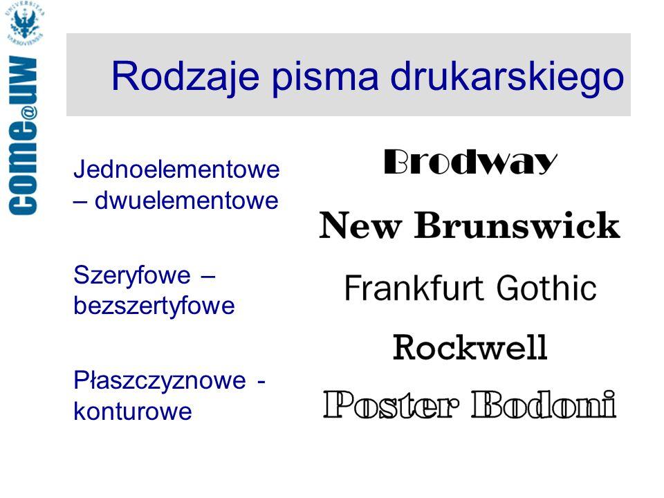 Rodzaje pisma drukarskiego