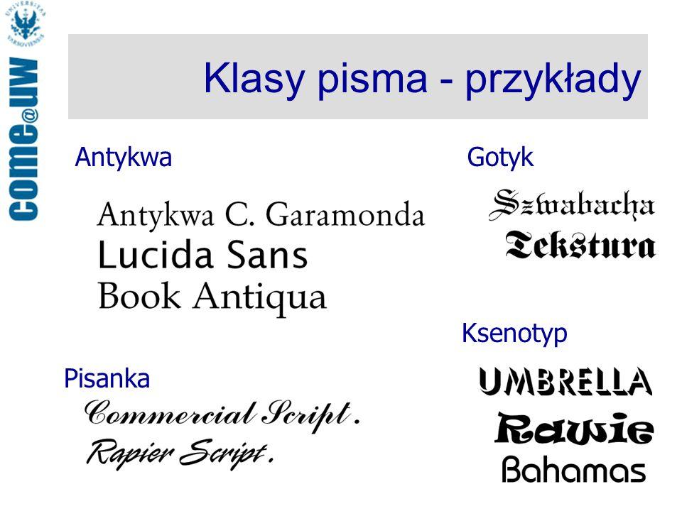 Klasy pisma - przykłady