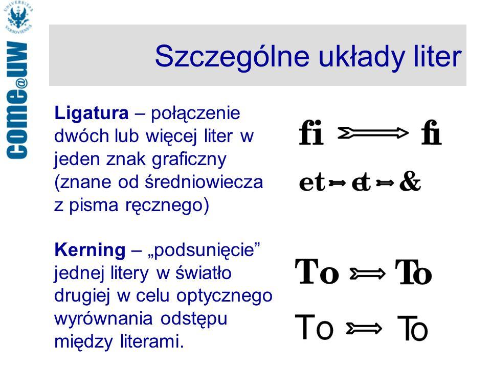 Szczególne układy liter