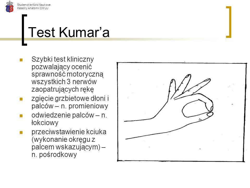 Test Kumar'a Szybki test kliniczny pozwalający ocenić sprawność motoryczną wszystkich 3 nerwów zaopatrujących rękę.