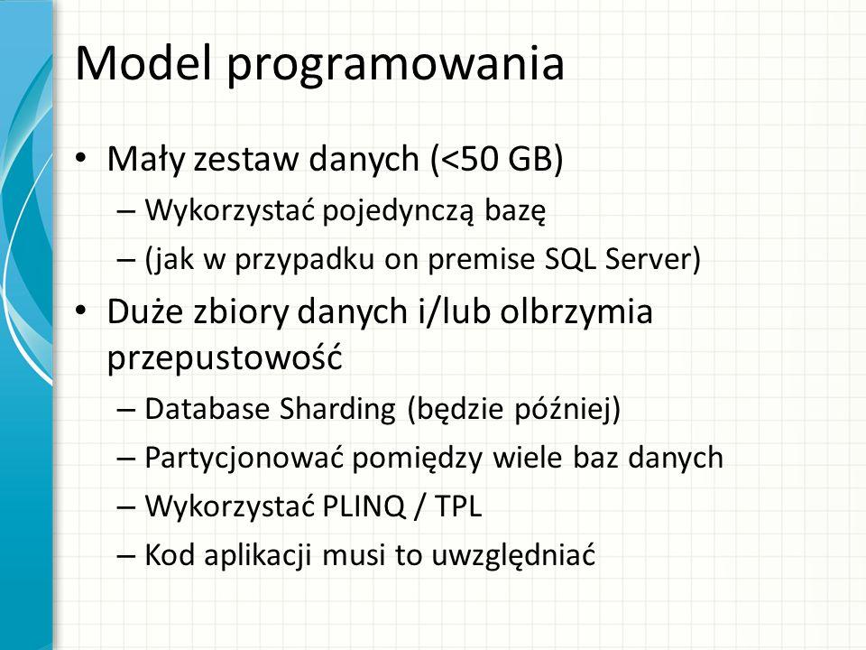 Model programowania Mały zestaw danych (<50 GB)