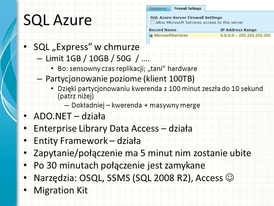 """SQL Azure SQL """"Express w chmurze ADO.NET – działa"""
