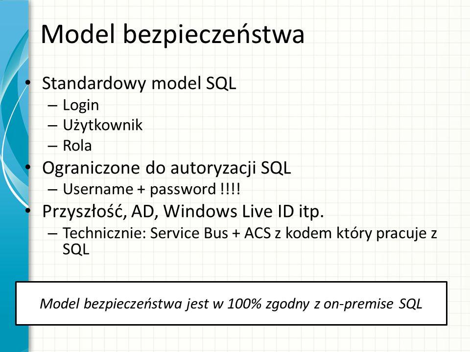 Model bezpieczeństwa jest w 100% zgodny z on-premise SQL