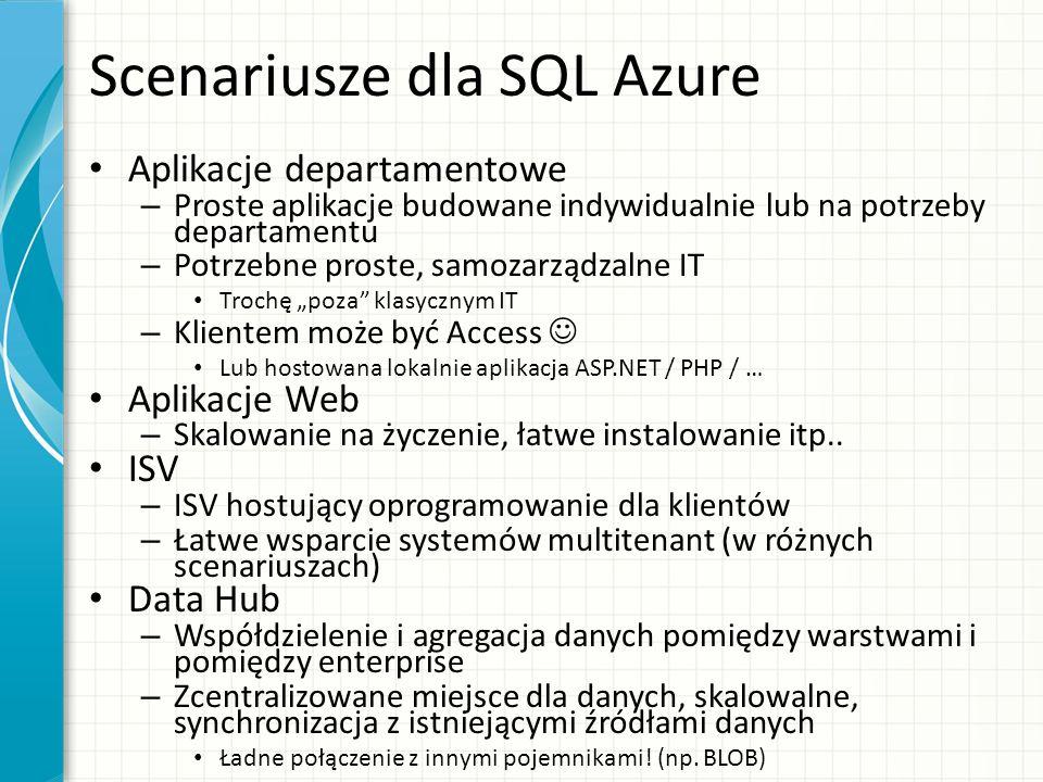 Scenariusze dla SQL Azure