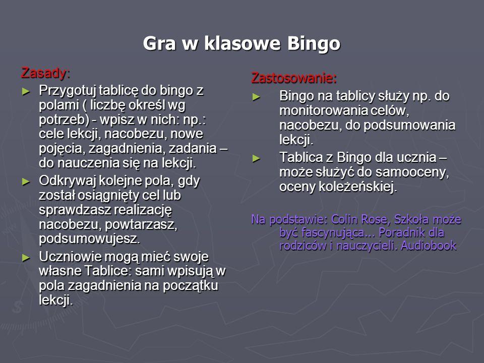 Gra w klasowe Bingo Zasady: