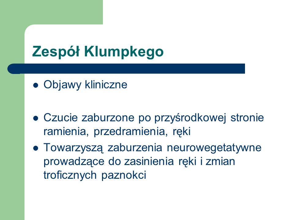 Zespół Klumpkego Objawy kliniczne