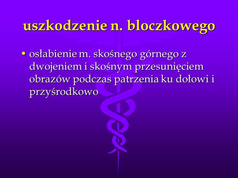 uszkodzenie n. bloczkowego