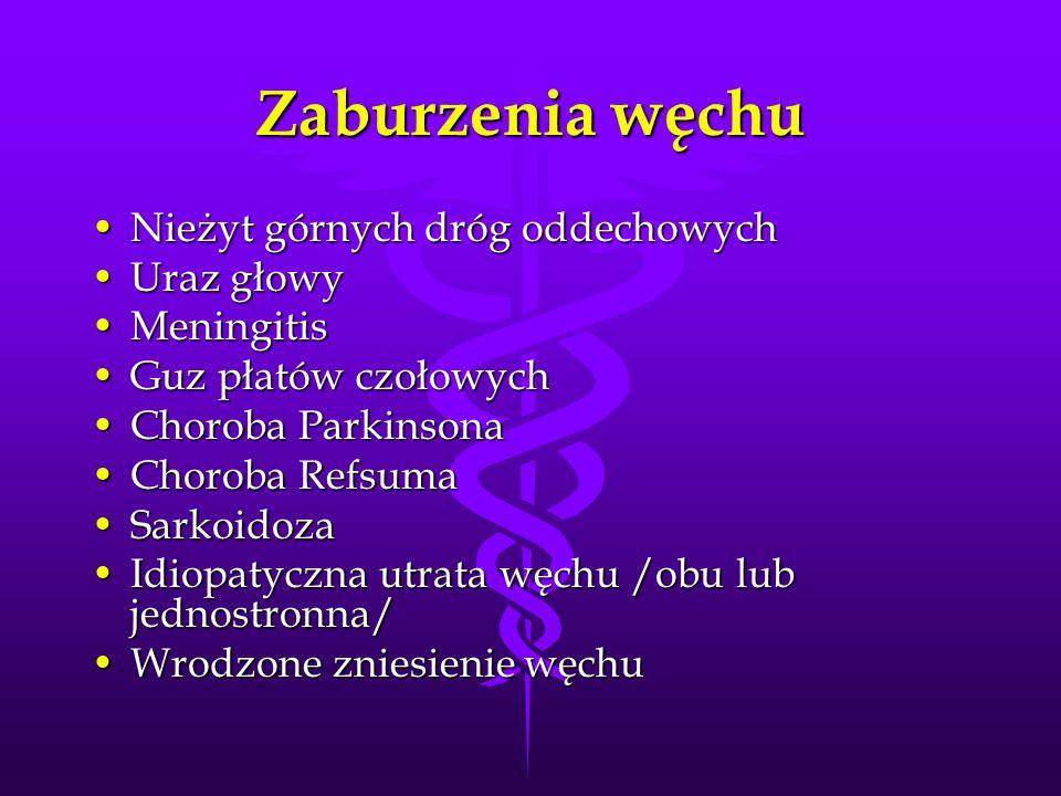 Zaburzenia węchu Nieżyt górnych dróg oddechowych Uraz głowy Meningitis