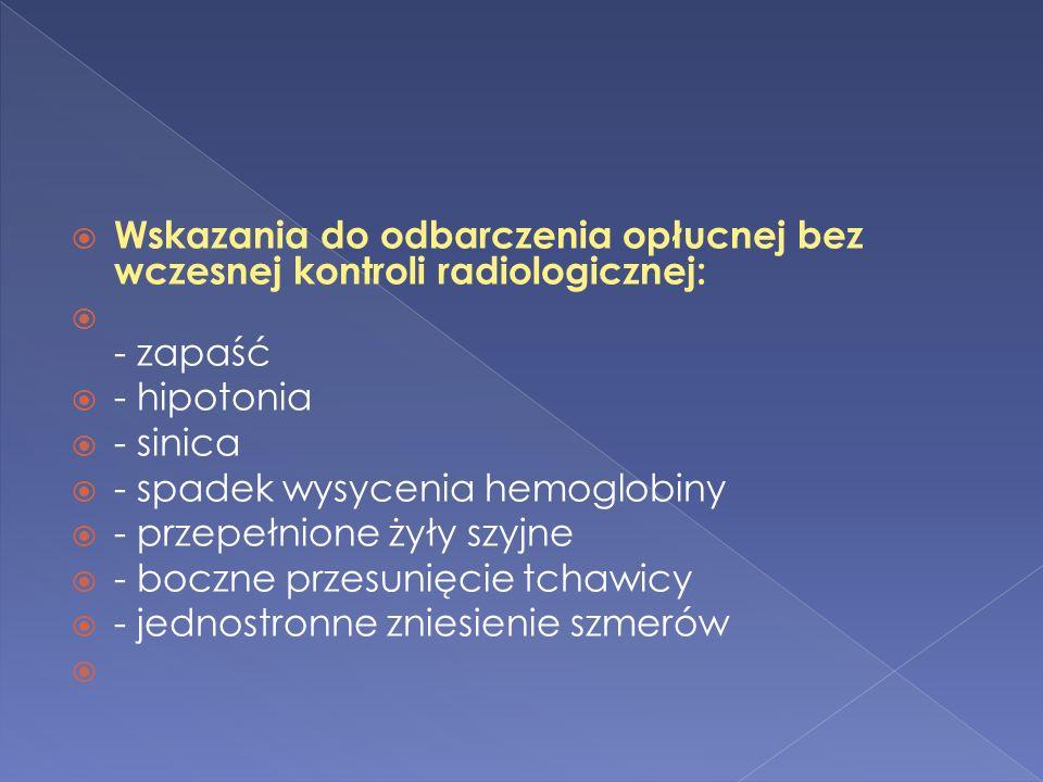 Wskazania do odbarczenia opłucnej bez wczesnej kontroli radiologicznej:
