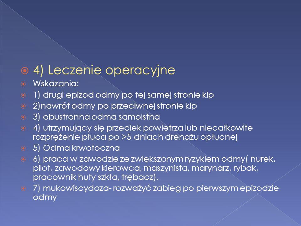 4) Leczenie operacyjne Wskazania: