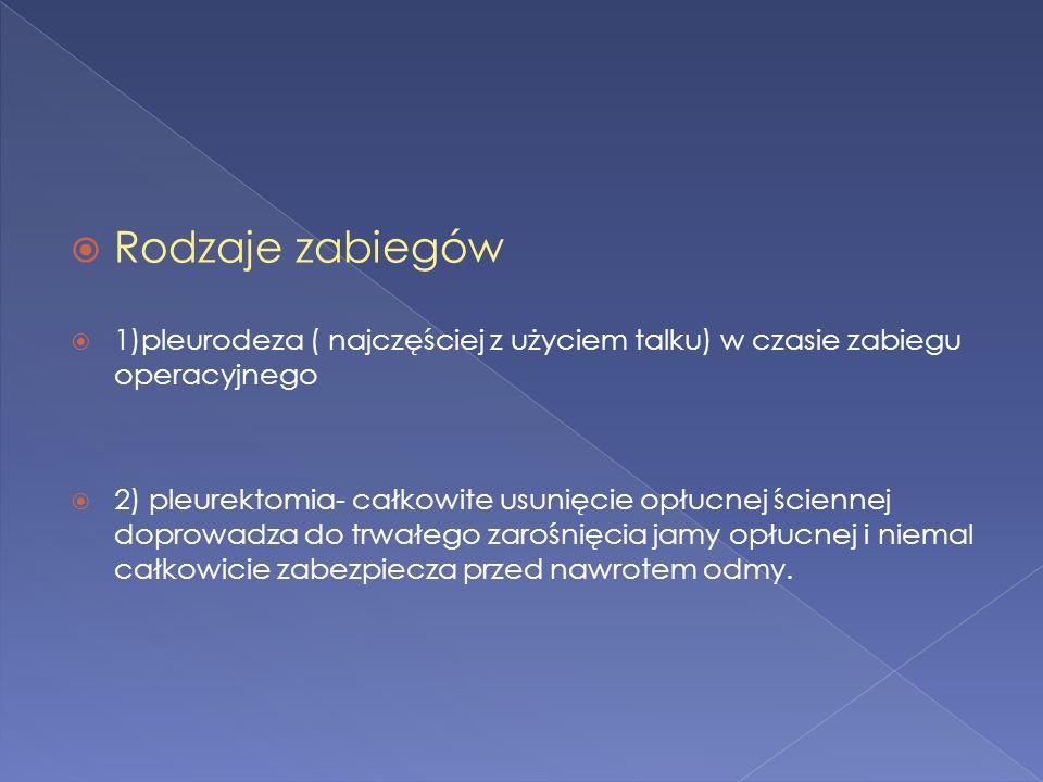 Rodzaje zabiegów 1)pleurodeza ( najczęściej z użyciem talku) w czasie zabiegu operacyjnego.