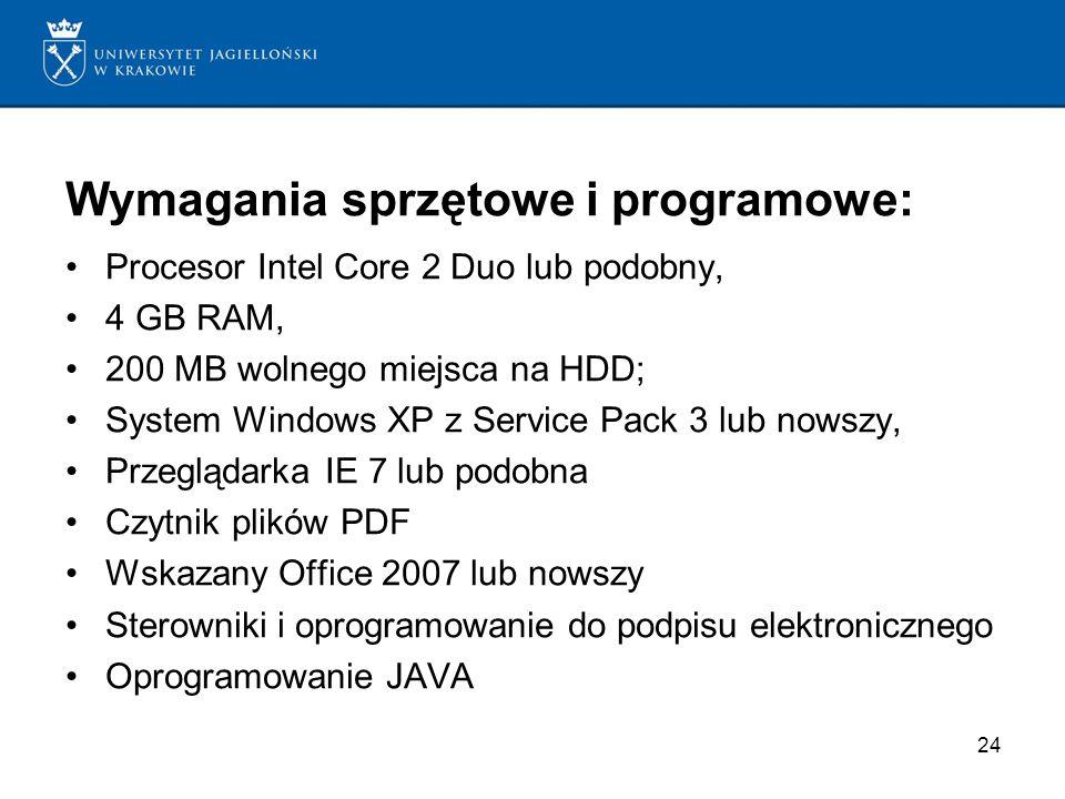 Wymagania sprzętowe i programowe: