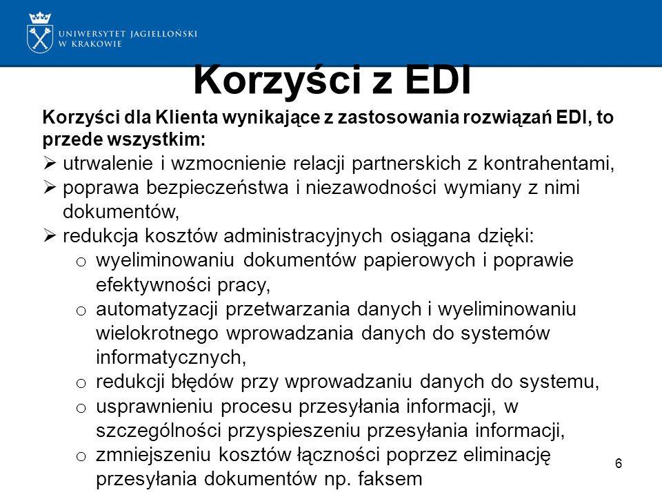 Korzyści z EDI Korzyści dla Klienta wynikające z zastosowania rozwiązań EDI, to przede wszystkim: