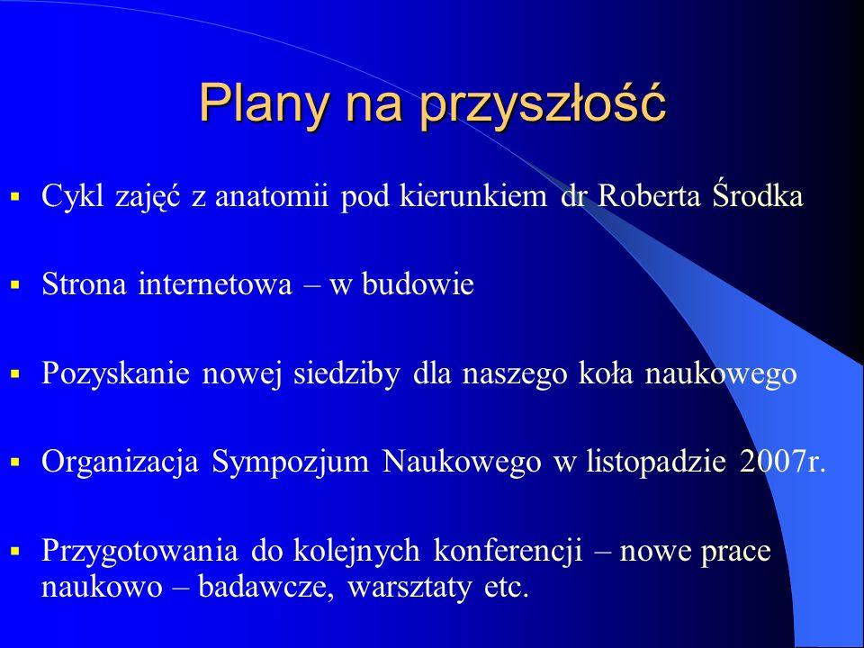 Plany na przyszłośćCykl zajęć z anatomii pod kierunkiem dr Roberta Środka. Strona internetowa – w budowie.