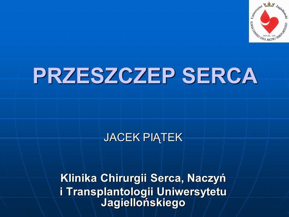 PRZESZCZEP SERCA JACEK PIĄTEK Klinika Chirurgii Serca, Naczyń