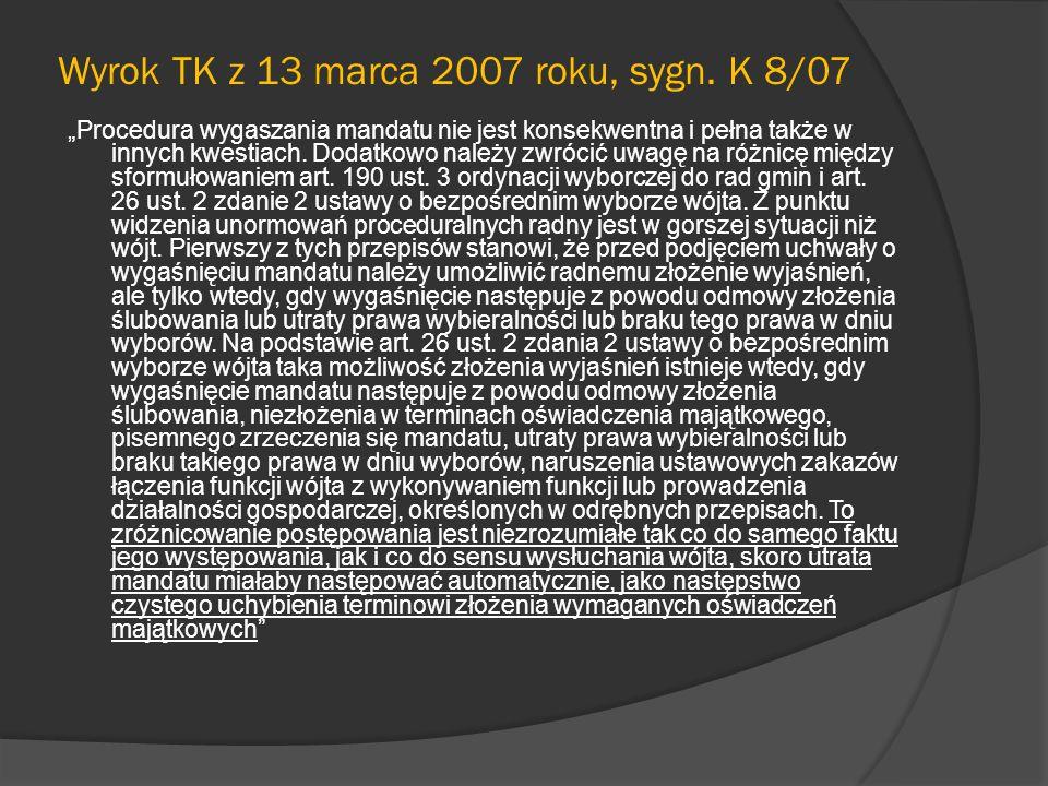 Wyrok TK z 13 marca 2007 roku, sygn. K 8/07