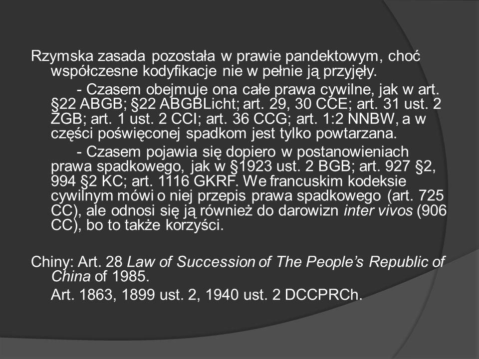 Rzymska zasada pozostała w prawie pandektowym, choć współczesne kodyfikacje nie w pełnie ją przyjęły.