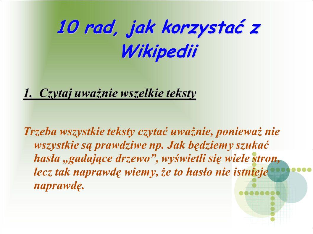10 rad, jak korzystać z Wikipedii