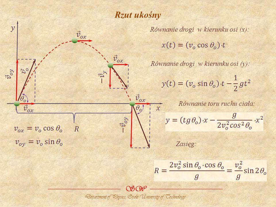 Rzut ukośny SW Równanie drogi w kierunku osi (x):