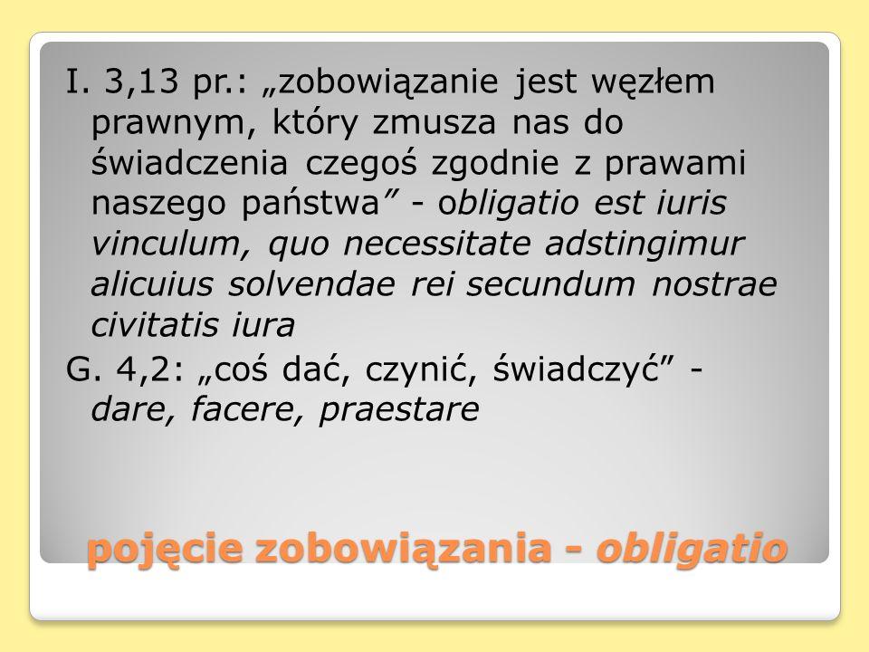 pojęcie zobowiązania - obligatio