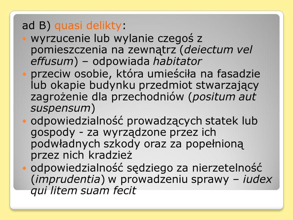 ad B) quasi delikty: wyrzucenie lub wylanie czegoś z pomieszczenia na zewnątrz (deiectum vel effusum) – odpowiada habitator.