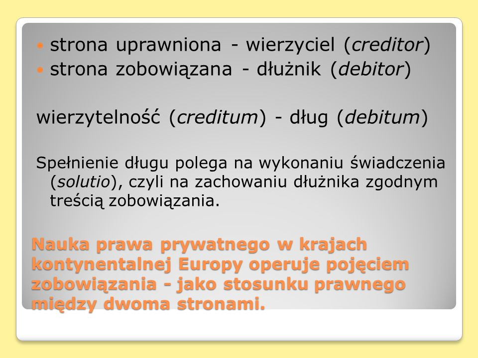 strona uprawniona - wierzyciel (creditor)